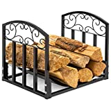 Best Choice Products Indoor Wrought Iron Firewood Fireplace Log Rack Holder Hearth Storage Tray w/Scroll Design