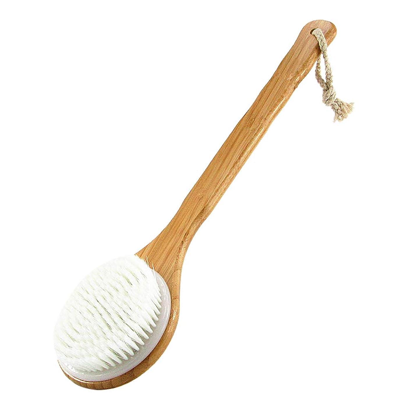 大事にする罰住所JUEJI シャワーブラシ 背中ブラシ 長柄滑り止め ブラシ 角質除去 体洗いブラシ お風呂用