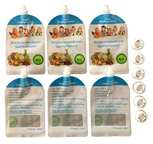 6/12/20x 180ml Wiederverwendbare Quetschbeutel – BPA & PVC frei – Baby Klein-Kinder selbst mit gekochten Essen Gemüse Brei versorgen – Gefrierfach & Geschirrspülfest - Ernährung – 180ml (6)