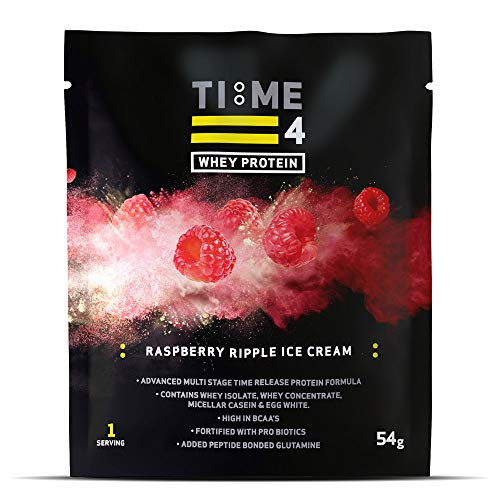 Time 4 Whey Protein - Time Release Blend of Whey Protein Isolate, Whey Protein Concentrate, Micellar Casein & Egg White + BCAAs + Probiotics (Raspberry Ripple Ice Cream, 18 x 54g Sachets)