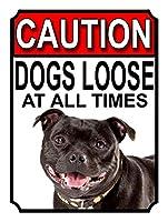 Caution Dogs Loose at all Times ティンサイン ポスター ン サイン プレート ブリキ看板 ホーム バーために