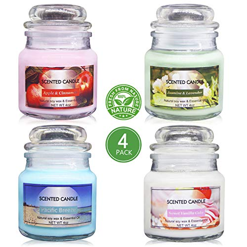 Uwax 100% Soy Wax Jar Candles, Scented Candles Perfect Woman and Man Gifts (Sweet Vanilla Cake,...