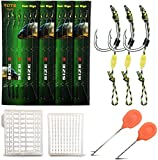 YOTO Carp Fishing Hair Rigs - 24Pcs High Carbon Steel Curved Barbed Carp Hook Swivel Boilies Aparejos de Pesca con Hilo Trenzado Rolling Carp Fishing Accessories (2# ,24PCS)