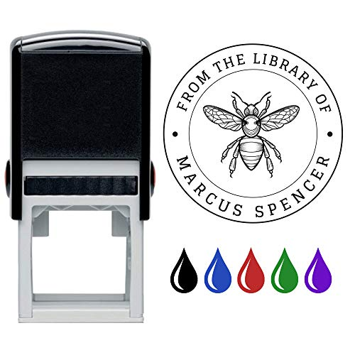 This Book Belongs to Stamp Bee Gift - from The Library of - Teacher Kids Name Stamper - Personalized Self Inking Book Stamp - 1 3/16 x 1 3/16 Inches