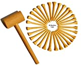 KIHACO Hammering and Pounding Toys for Kids Include 1 Wood Hammer and 30 Bamboo Nails Improve Fine Motor Skills Friendly Natural Wooden Educational Montessori Toy for Childs DIY Birthday Gift for 4+