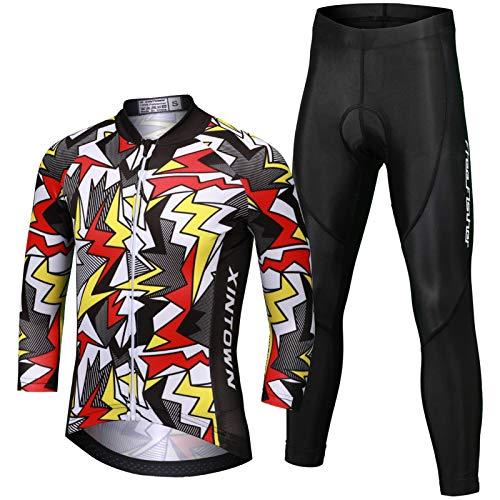 LJENFCI Jersey Ciclismo para NiñOs NiñOs Ropa Secado RáPido Ropa Ciclismo Ropa Ciclismo Camisetas Mtb Pantalones Ciclismo Impermeables Traje(Color Lightning Suit,Xl)