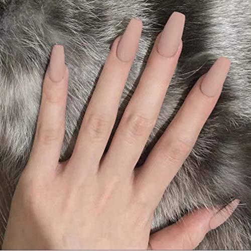 Künstliche Fingernägel für Mädchen, einfarbig, matt, abnehmbar, rund, lang, kaki