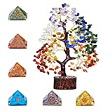FASHIONZAADI Seven Chakra Gems Tree & Pyramid Set Reiki Healing Aura Crystal...