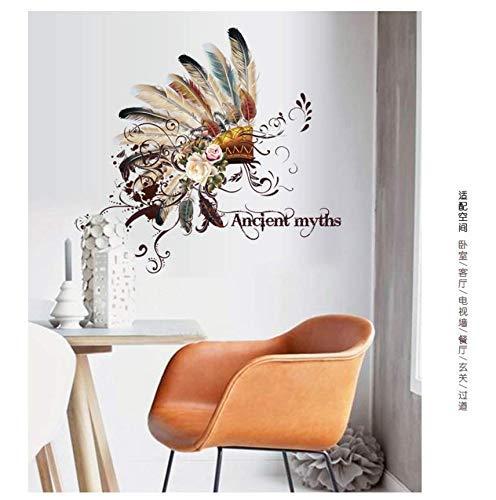 Neue kreative Wohnzimmer Sofa Schreibtisch Hintergrund Dekoration Abnehmbare Wandaufkleber Feature National Chief Cap Home Decorati50 * 70Cm