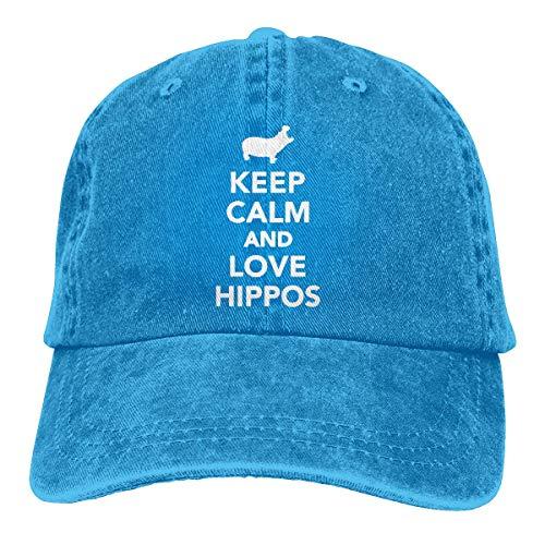 XCNGG Keep Calm and Love Hippos Sombreros de Vaquero Unisex Sombrero de Mezclilla Deportivo Gorra de béisbol de Moda Negro