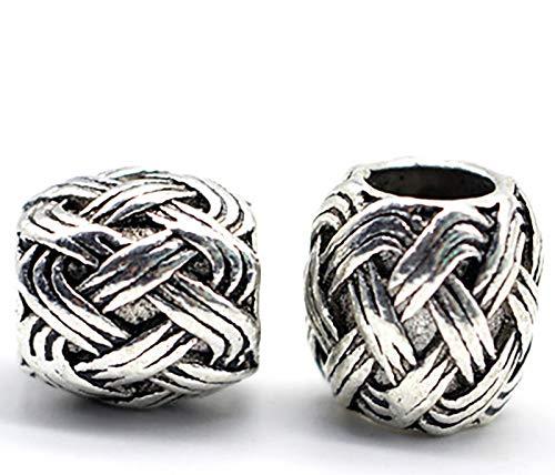 LH&BD Cadenas Color de Plata Antiguo aleación del Metal de la Gota Romana de Viking Runa Vikings Pulseras de Perlas de Pelo de la Barba