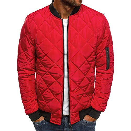 YJNH Mens Full Zip Stand-up Collar Cardigans Coat Classic Long Sleeve Jacket Spring, Autumn and Winter New Outdoor Comfortable Sport Casual Daily Wear Streetwear Sweatshirt with Pockets XL Red