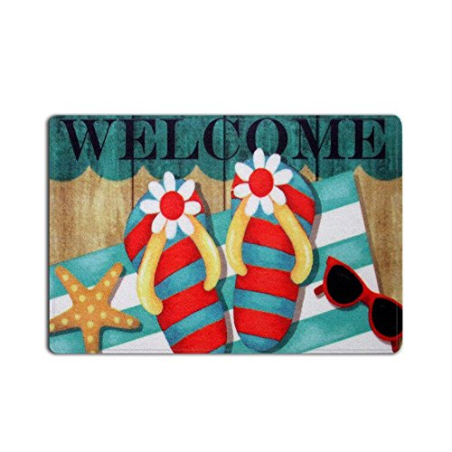 SUN-Shine Fantastic Colorful Flip Flops Starfish Beach Theme Welcome Entrance Rug Floor Indoor Outdoor Door Mat (18x30in)
