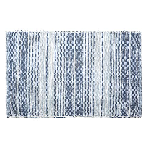 DII Contemporary Reversible Machine Washable Recycled Yarn Area Rug for Bedroom, Living Room, and Kitchen, 2x3, Variegated Stripe French Blue