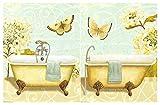 Dcine Cuadro Madera Mariposas/bañeras Tonos claros Amarillos/Azules Set de 2 Unidades de 19 cm x 25 cm x 4 mm unid Adhesivo FÁCIL COLGADO. Adorno Ideal para Hogar/Baño/Regalo