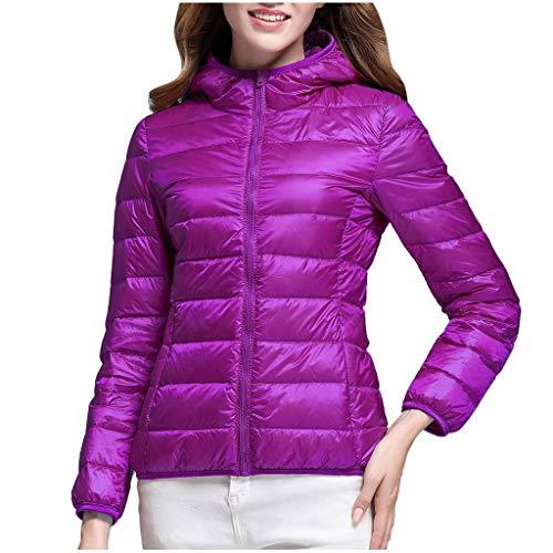 Lulupi - Giacca da donna leggera trapuntata, trapuntata, giacca corta, autunno, inverno, calda giacca con cappuccio, trapuntata, giacca invernale con cappuccio Lilla XXL