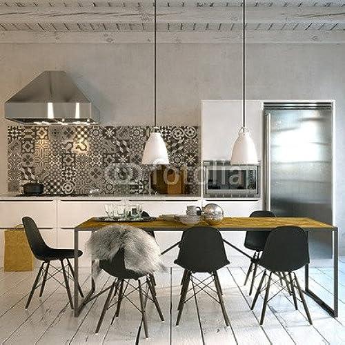 Toile 80 x 80 cm   skandinavische küche in Altbau Loft - scandinavian style kitchen , Toile