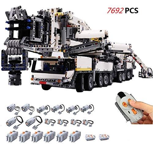 Foxcm Technik Kran LKW, Technic Mobiler Schwerlastkran, Ferngesteuert Autokran mit Motoren, 7692 Teile Bausteine Kompatibel mit Lego Technik