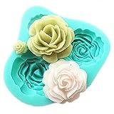 Emore, stampo in silicone per creare rose di zucchero per torte in 3D, set da forno per decorare torte, set da 4 pezzi