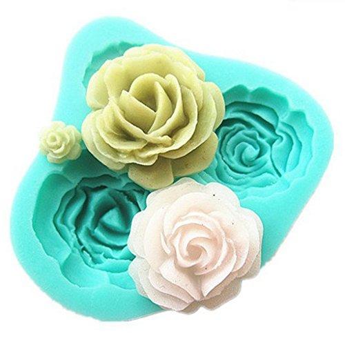 4PCS 3D Silicone Rose Fondant Cake Mold Home Kitchen Baking Sculpting & Modeling Tools Cake Decoration