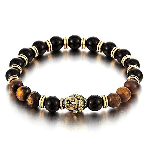 COOLSTEELANDBEYOND Uomo Donna 8mm Tiger Eye e Nero Onice Bracciale di Perline con Budda, Braccialetto, Tibetan Beads Prayer Mala