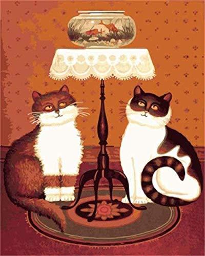 CHANGWW Puzzlefür Erwachsene 1000 Stück Holzkatzen und Goldfisch auf dem Tisch dekorative Gemälde