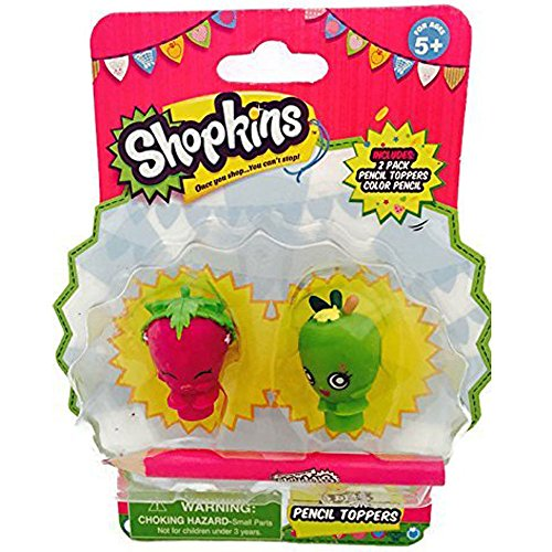 Shopkins 2 Pack Strawberry Kiss & Apple Blossom Pencil Toppers with Pencil