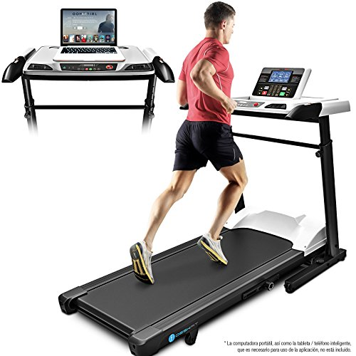 Sportstech Cinta de Correr Profesional e innovadora Deskfit 2 en 1 con Escritorio de Altura Ajustable DFT500 + Consola Bluetooth Compatible con Varias Aplicaciones, Cinta para Escritorio Plegable