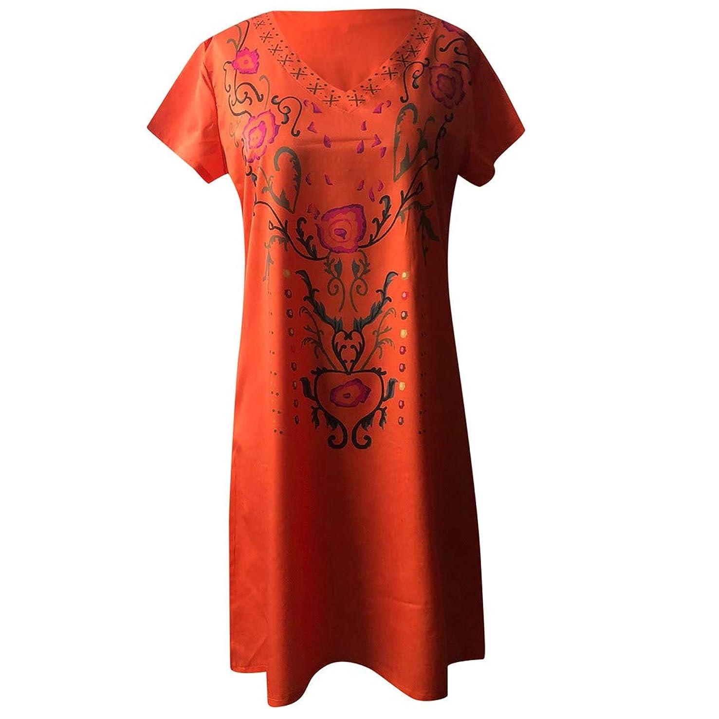 Tantisy ??? Women's Vintage V-Neck Short Sleeve Dress Chic Print Fashion Midi Dress Summer Casual Flowy Swing Dress