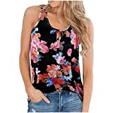 WANGTIANXUE Blusa de verano para mujer, sin mangas, diseño floral, cuello redondo, sin mangas, camiseta interior, blusa elegante, chaleco de playa, parte superior y blusa sin cordones Negro S