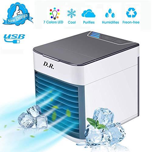 D.R. Mini Raffreddatore D'aria USB Condizionatori Portatili Personale Air Cooler 3 IN1 Evaporativo Umidificatore Purificatore con 3 Velocità 7 Colori Luce per Casa Ufficio