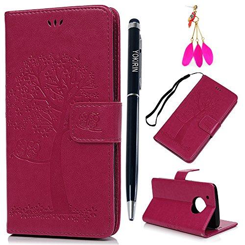 Motorola Moto G5 Plus Hülle YOKIRIN Hülle für Motorola Moto G5 Plus Lederhülle Etui Eule Baum PU Leder Schutzhülle Flip Bookcase Handyhülle Karte Halterung Magnetverschluss Tasche Rose Rote