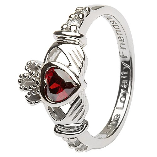 January Birth Month Silver Claddagh Ring  Made in Ireland.