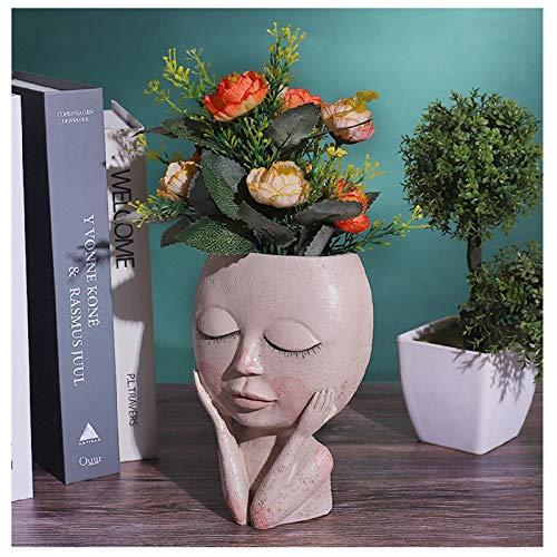 Yuemei Mädchen Gesicht Kopf Topf Pflanzer Sukkulenten Pflanzer, Blumen Sukkulenten Pflanzentopf Blumentopf, Harz Geschlossene AugenGirls Gesicht Figur Kaktus Pflanzer mit Drainage Garten Dekor