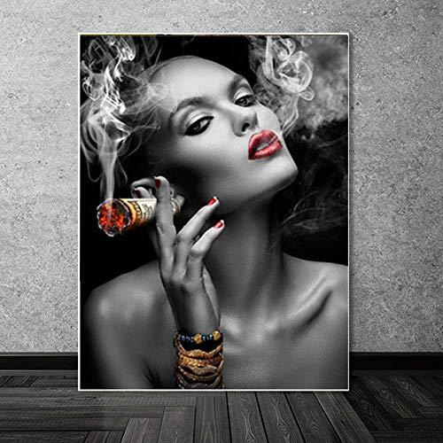nobrand Wandkunst Leinwandbilder Graffiti Usdollar Geldwolken Mädchen Sexy Lippen Abstrakte Poster Bilder Wohnkultur Wohnzimmer