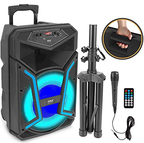 Portable Bluetooth PA Speaker System - 1200W Outdoor Bluetooth Speaker Portable PA System w/ Microphone In, Party Lights, MP3/USB SD Card Reader FM Radio, Rolling Wheels - Mic, Remote - Pyle PPHP152SM