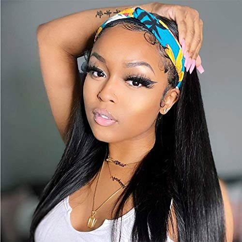 Headband Wigs Long Curly Straight Wavy Headband Wig Glueless Heat Resistant Synthetic Wigs for Black Women 180% Density Full Ends Black Wig (Straight 22inch)