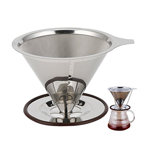 Nice Pies Paperless Pour Over Coffee Maker, Reusable Stainless Steel Filter for the Best Coffee (1-4 cup), with Removable Cup Stand