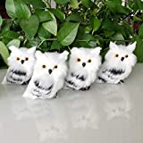 WDDH 1Pcs Artificial Owl Simulation Foam Bird Feather Ornaments DIY Craft, 2.76inch Furry Simulation Foam Owl Photo Props for Home Garden Christmas Party Decor (White-1Pcs)