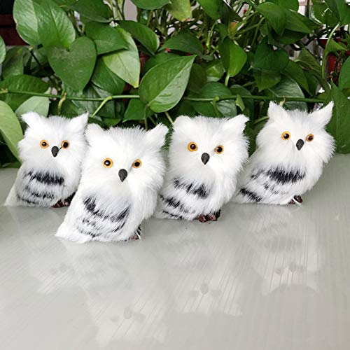 Asodomo 4Pcs Owl White Black Furry Christmas Ornament, Christmas Style Cute Owl Model Tree Hanging Decor Fluffy Baby Owl Christmas Ornament