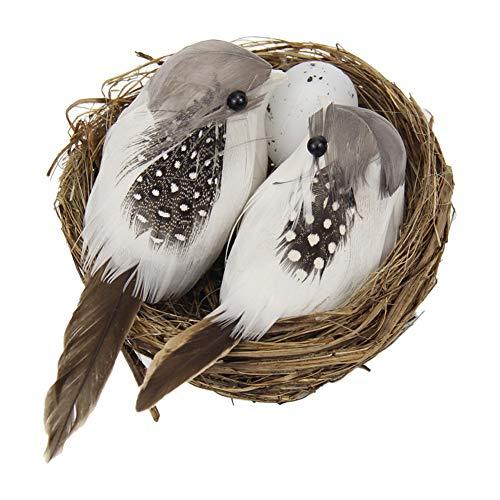 Apofly Artificial Birds Decor Set, Home Garden Decoration Craft Lifelike Bird with Nest Egg Realistic Feathered Sparrow Outdoor Ornament