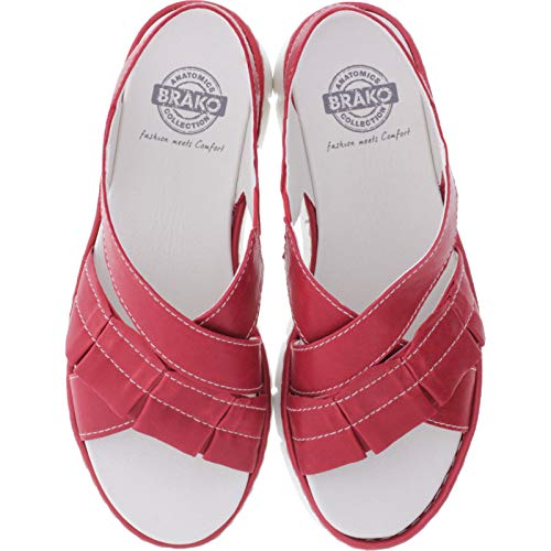 Brako / Modell: 2502 Shey/Rojo Rot Leder/Wechselfußbett/Damen Sandalen (39 EU)