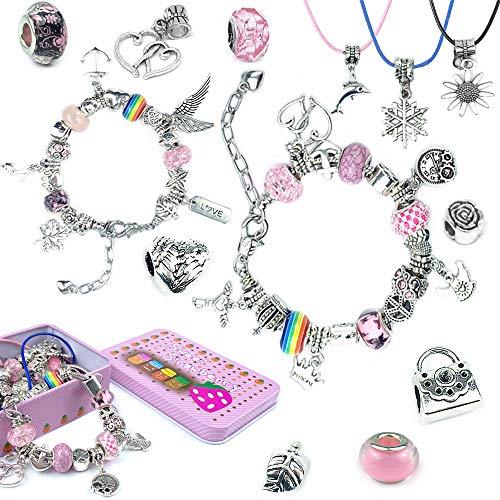 Amokee Charm Armband Kit DIY, Geschenk für Mädchen Teen, Schmuck Making Kit für Kinder, Schmuck Bastelset Handwerk überzogen mit Silber Kette,Teenager Mädchen Geschenke 8-12 Jahre