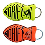 DriftFish Floating Neoprene Boat Keychain Key Float | Jumbo Size - Float 5 to 6 Keys | Proudly American Made | Waterproof Key Chain Buoy | Great for Boating and Water Sports, Green & Orange