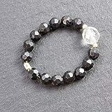 Schmaler Edelstein-Ring mit Bergkristall und schwarzer Turmalin/stabil und...