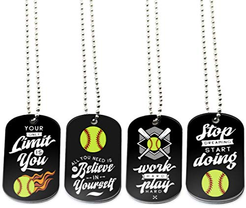 (12-Pack) Softball Dog Tag Necklaces with Inspirational Quotes - Wholesale Bulk Pack of 1 Dozen Dog Tags for Softball Themed Party Favors Supplies - Unisex Gifts for Softball Team Boys Girls Men Women