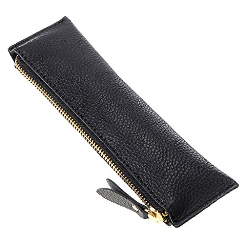 BTSKY Genuine Leather Pencil Case - Zippered Pen Case Stationery Bag Zipper Pouch Pencil Holder (New Black)