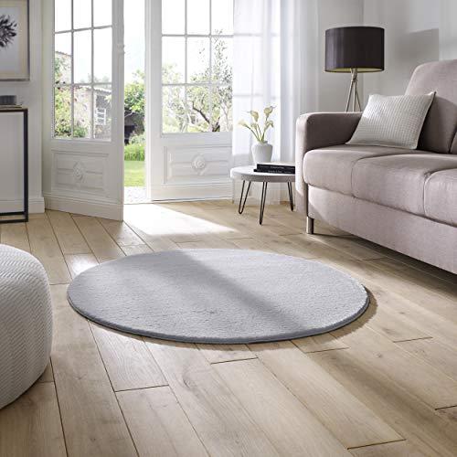 Taracarpet Supersoft kurzflor Teppich Fiona Wohnzimmer Schlafzimmer Kinderzimmer Flur Läufer waschbar rutschfest Uni grau 120 cm rund