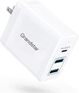 Grandstar USB Charger, 60W - 3 Port USB C Power Delivery Wall Charger with QC 3.0 and Foldable Plug - Compatible MacBook, iPad/Pro, iPhone X/XS/Max/XR/8/7/6/Plus, Samsung Galaxy S8/S8+/S9/S10
