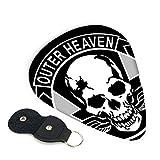Outer Heaven - Llavero de piel con logo de cuero con 6 púas, el regalo ideal para todos los hombres y mujeres guitarristas